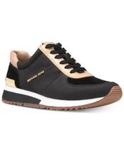 Michael Kors MK Women's Allie Trainer Leather Canvas Sneakers Shoes Black