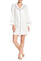 NWT New Designer Natori Womens S SleepShirt Satin White Dragon Button Do... - $180.00