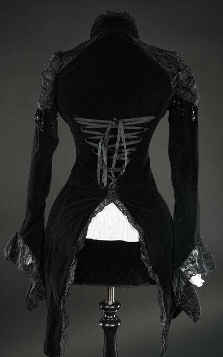 Black Velvet Victorian Vampire Gothic Corset Back Jacket Steampunk Tailcoat