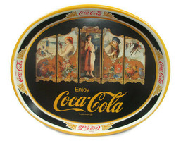 Coca-Cola Oval Tray Four Seasons Reproduction of 1922 Festoon Issued 1981 - $19.79