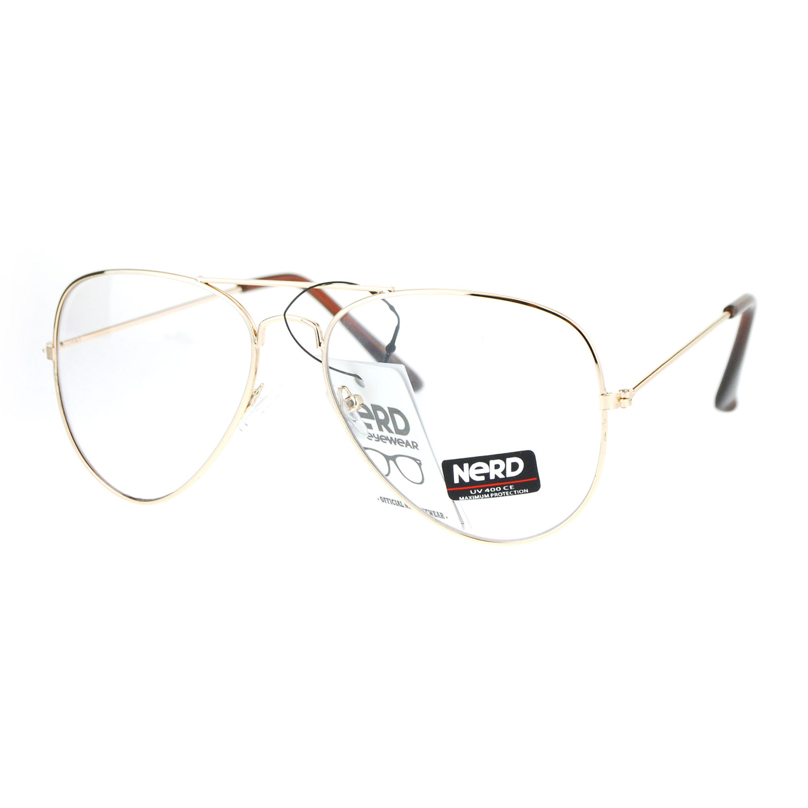 14e3bc7248231 SA106 Classic Police Tear Drop Shape Metal Clear Lens Aviator Sunglasses