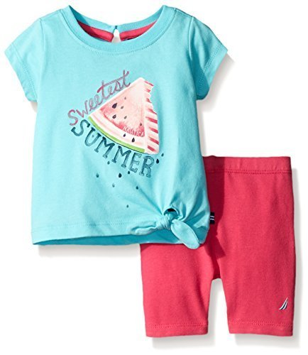 Nautica Little Girls Side Tie Short Sleeve Graphic Tee with Knit Pull-On Short,