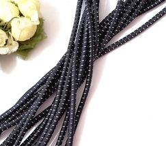 Approx 3.5mm wide-5-10yd Black with Gray Stitch (Reflect Light) Elastic ... - $5.99+