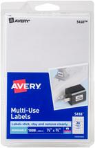 "Avery White Removable Print/Write Labels .5""X.75"" 1008/Pkg- - $8.08"