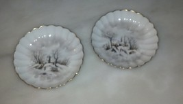 Pair Theodore Haviland Red TH Sawtooth Mark Winter Landscape Limoges Bowls - $95.00