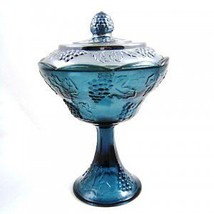 Indiana Glass Blue Carnival Harvest Compote with Lid - $65.45