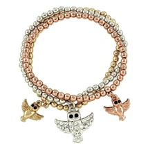 Owl Bracelets Beaded Copper Gold Silver Tone Beaded Stretchable Bangles - $19.00