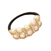 [Set of 2] Elegant Beads No-damage Elastics Ponytail Holders, Shinning Stripes
