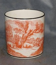 Antique English Creamware Orange Bat Printed Landscape Black Painted Mug - $675.00