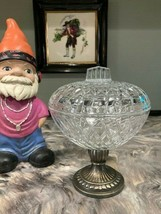 VINTAGE FRENCH CRYSTAL GLASS CANDY DISH WITH METAL BASE - $14.99