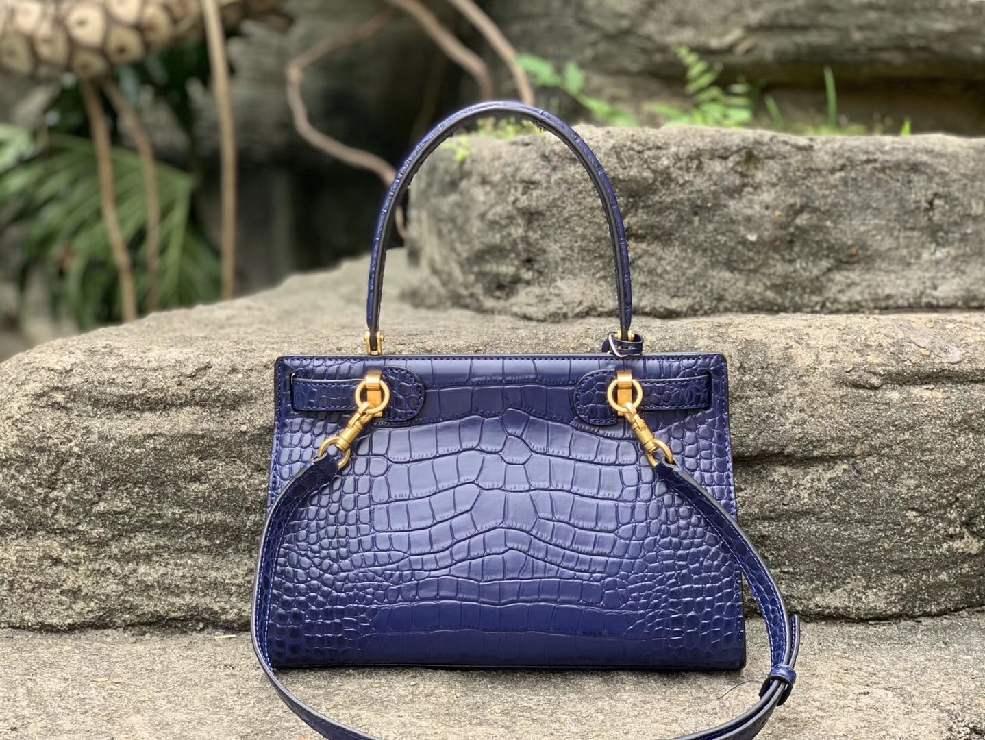 Tory Burch Small Lee Radziwill Embossed Leather Satchel