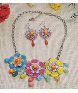 Colorful Summer Flower Beaded Fashion Necklace Earring Set Blue Yellow Pink - $24.70