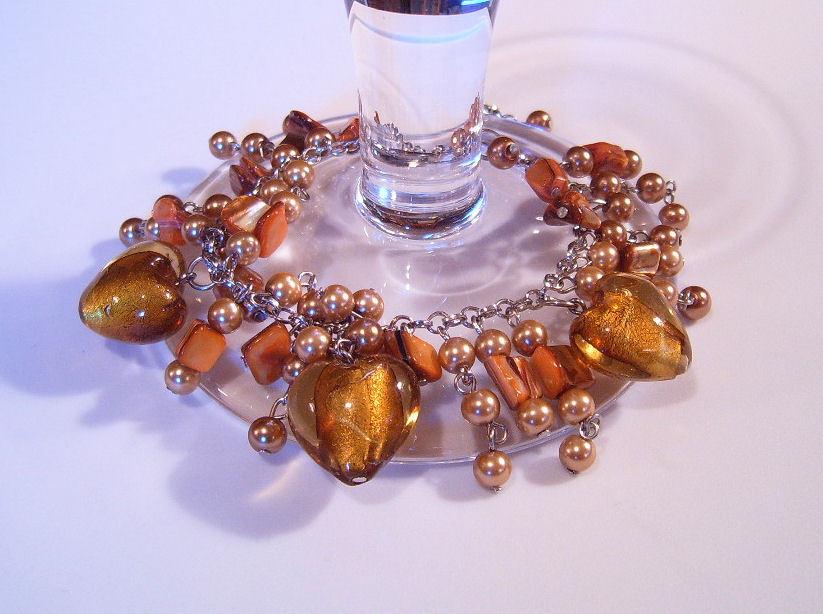 Bracelet gold pearl azure glass gemstone chips