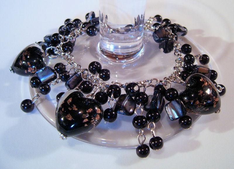 Bracelet Sea Shell Pearls Azure Glass Gemstone Chips Gold