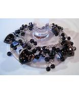 Bracelet Sea Shell Pearls Azure Glass Gemstone Chips Black - $9.99
