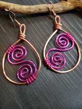 Unique Gorgeous Copper Colored WIRE/PINK SCROLL/PINK Wire Wrap Earrings!! - $15.99