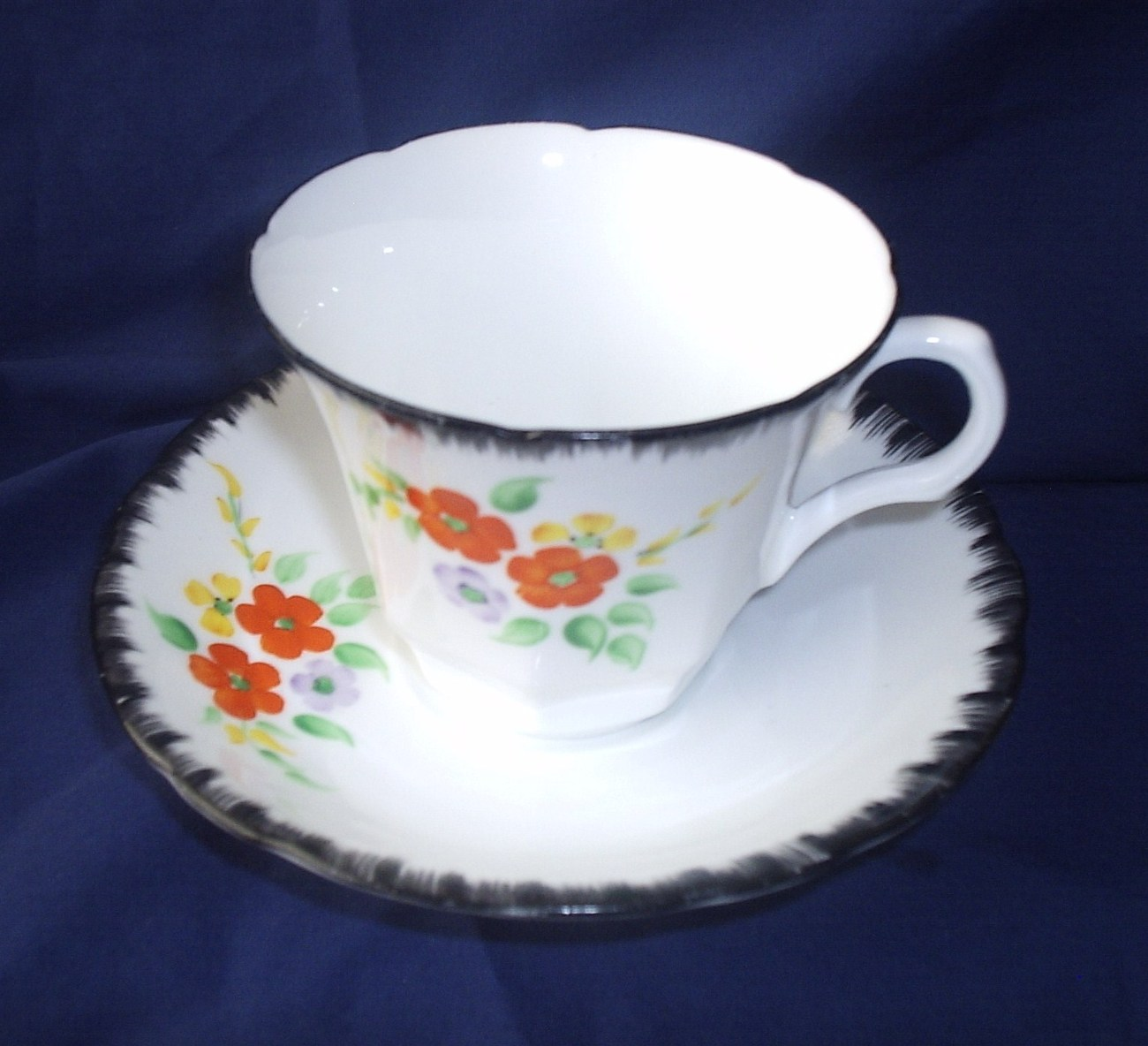 Melba #4324 Cup and Saucer Black White Flora Collector Item Orange Flowers