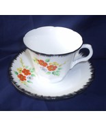 Melba #4324 Cup and Saucer Black White Flora Collector Item Orange Flowers - $45.00