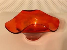 VTG Orange Persimmon Viking Glass Candy Bon Bon Dish w Rolled Edges MCM  - $19.75