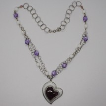 925 Silver Necklace, Amethyst, Agate White, Heart Pendant, Chain two files image 2
