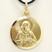 SOLID 18K YELLOW GOLD SACRED HEART OF JESUS 17 MM ROUND MEDAL, MADE IN I... - $357.00