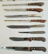 8 CHEFS CUTLERY Knives Lot ONEIDA, Queen Steel, Imperial, Regent Sherwoo... - $47.95