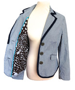 BODEN Navy White Nautical Cotton Piped Pinstripe Jacket Fab Floral Linin... - $49.00