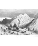 CALIFORNIA Limestone Formations on Pit River - 1883 German Print - $12.60