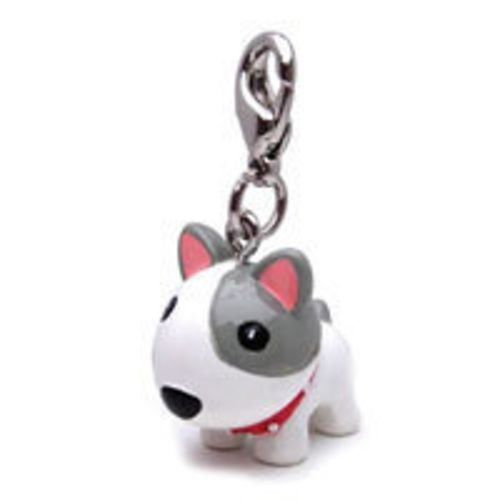 Cute White Dog with Spike Collar 3-D Poly Figurine Dog Collar Charm