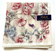 POLO Ralph Lauren Handkerchief hanky scarf bandana Pink Flowers Auth New - $23.76