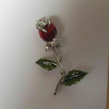 Signed LC Silver-tone Red Rose Green Enamel Brooch - $14.36