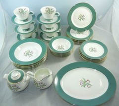 40 Pc.Homer Laughlin Tulips with Green Band CV20 Service for 6 + Platters - $99.99