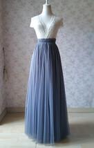 GRAY Wedding Bridesmaid Long Tulle Skirts High Waist Gray Full Tulle Skirt Plus  image 1