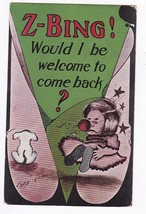 Z-BING! Would I Be Welcome To Come Back Artist Signed Postcard Cobb Shinn - $4.98