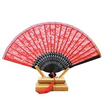 Double-layer Lace Folding Fan black bone golden silk red surface 21.5*40cm - $10.44