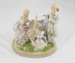 Porcelain Bisque Figurine Family at Piano (minor damage) - $49.00