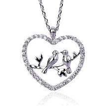 NickAngelo's Heart Necklace Love Birds (rhodium-plated-copper|cubic-zirc... - $24.09