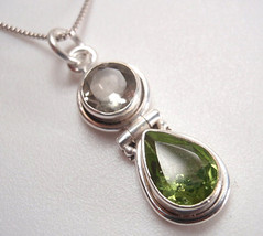 Peridot and Green Amethyst Faceted Double Gem 925 Sterling Silver Pendant - $8.70