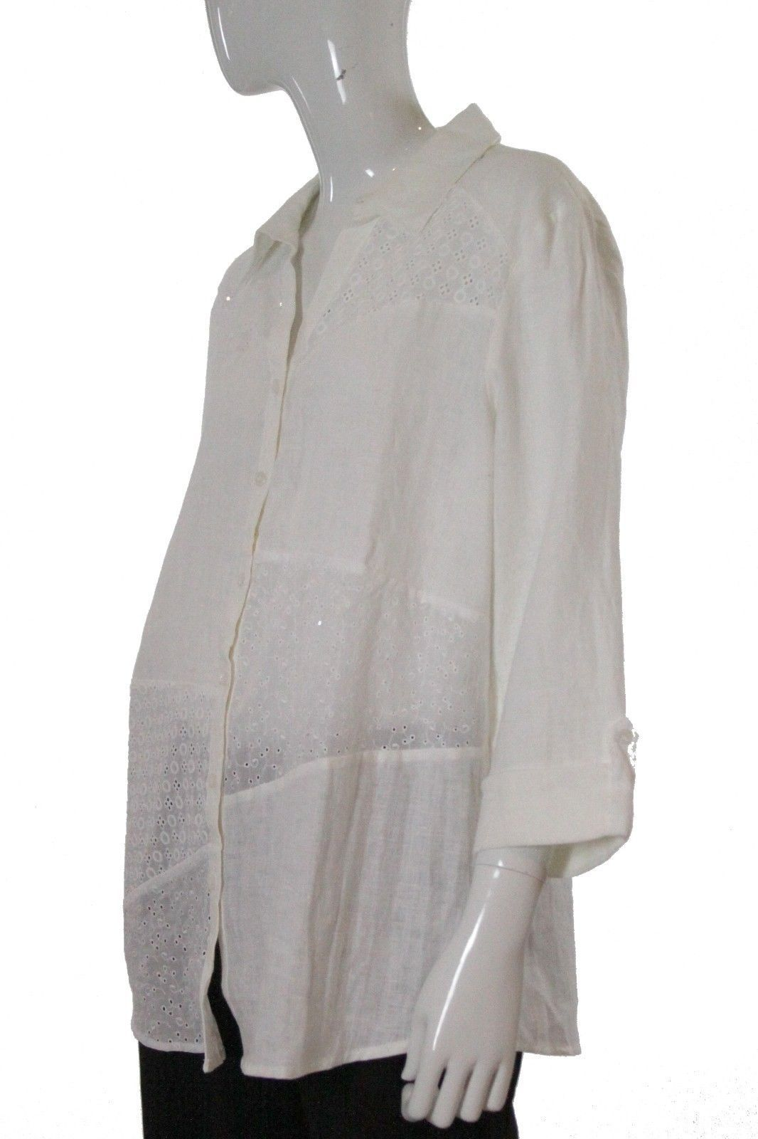 JM Collection White Linen Long Sleeve Button Front Blouse Size 12 NWT