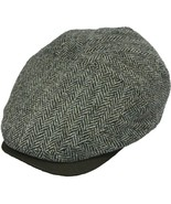 Henschel 100% Wool Herringbone With Suede Visor Cotton Lining Brown Gray - $49.00