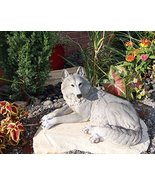 "Ebros Direwolf Ghost Resting Alpha Gray Lone Wolf Large Statue 15.75""Lon... - $46.48"