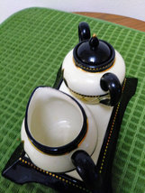 Mud Pie Black & White w/ Gold Design Trim Creamer Sugar Bowl Set w/Tray image 2