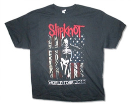 Slipknot-Skeleton-Skeleton Flag-WorldTour 2015-Black T-shirt - $16.19