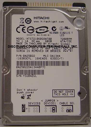 "New HTS721060G9AT00 7200RPM Hitachi 60GB IDE 44PIN 2.5"" 9.5MM hard drive"