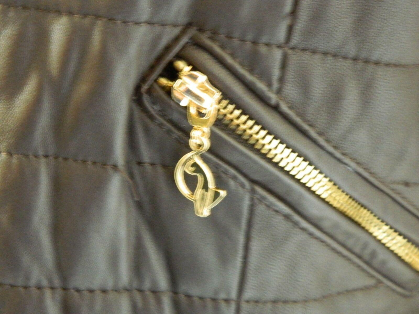 BABY PHAT Jacket Puffer Leather Kimora Lee Simmons Brown Coat XX-Large image 9
