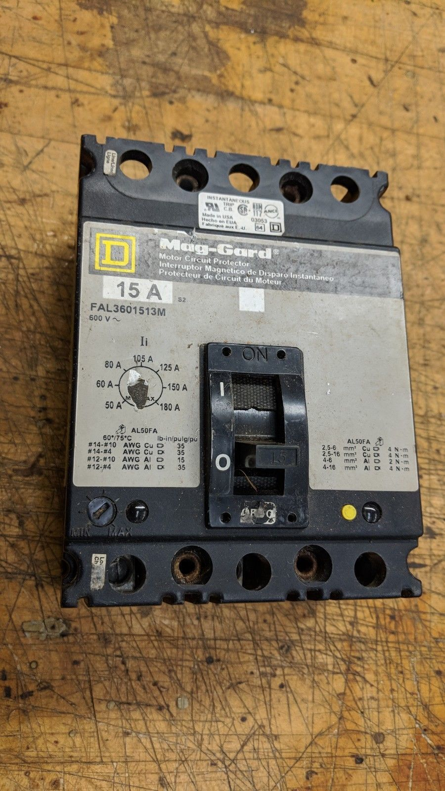 FAL3601513m Square D mag-gard Circuit Breaker 3 Pole 15 Amp 600v