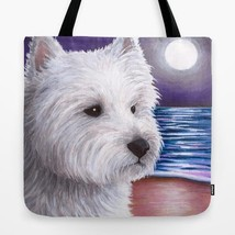 Tote Bag All over print Made in USA Dog 81 White Westie art painting L.D... - $26.99+