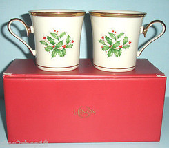 Lenox HOLIDAY Gold Coffee Mug Set of 2 Dimension Collection Gift Boxed New - $41.90