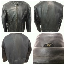 Classic Biker Cafe Racer Motorcycle Black Leather Jacket Men's Size 48 X... - $64.32