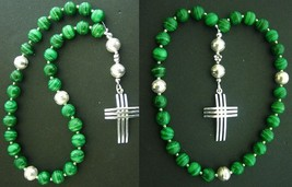 EPISCOPAL ANGLICAN ROSARY MALACHITE & STERLING SILVER - $118.80